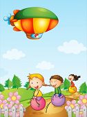 Illustration of three kids playing below an airship