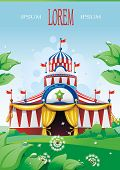 Big top circus tent built in a park. The sky is blue with white cumulus clouds. Decoration vector illustration.