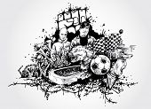 football and sports fans- artistic hand-drawn illustration
