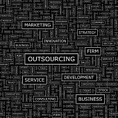 OUTSOURCING. Word cloud illustration. Tag cloud concept collage. Vector text conceptual illustration