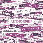 AUTHORSHIP. Background concept wordcloud illustration. Print concept word cloud. Graphic collage with related tags and terms. Vector illustration.