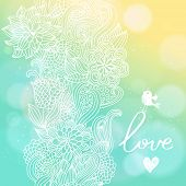 Bright floral background in sunny colors. Stylish card with bokeh effect - ideal for wedding designs