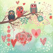 picture of snow owl  - Owls on the branch in leafs and hearts - JPG