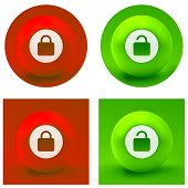 Padlock button set. Vector collection.