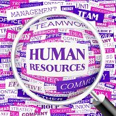 HUMAN RESOURCES. Background concept wordcloud illustration. Print concept word cloud. Graphic collag