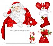 Santa Claus holds banner for text. Traditional Christmas objects. Vector illustration