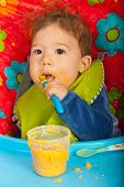 Baby Boy Eating Puree