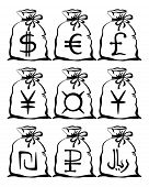 Bag with currency sign, set pictograms