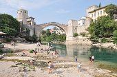 Mostar, Bosnia-hercegovina August 10: Tourist At The Old Bridge
