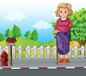 Illustration of an old woman with a cane standing at the roadside near the mailbox