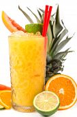 Long Drink Orange Coctail With Citruses
