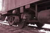 image of caboose  - old caboose wheels - JPG