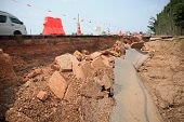 Cutting Surface Of Asphalt Road Inner Structure Scouring By Water Flood Attack Indicated Layer Of Ro