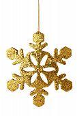 Gold Xmas Snowflake Isolated