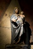 Medieval Wooden Statue Of Maria And Child poster
