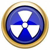 foto of radium  - Shiny glossy icon with white design on blue and gold background - JPG