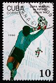 Postage Stamp Cuba 1990 Soccer Goalie In Action