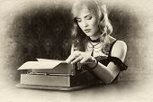 retro portrait, woman and vintage typewriter