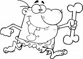 picture of cave-dweller  - Black and White Caveman Running With A Big Bone Cartoon Character - JPG