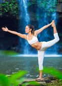 Beautiful Woman Practacing Yoga in Nature, Beautiful Natural Waterfall