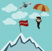 Businessman standing on the high mountain. Businessman and solution. Vector
