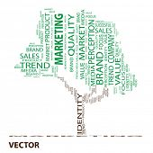 Vector eps concept or conceptual tree marketing word cloud on white background
