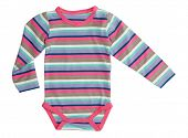 stock photo of jumpsuits  - Striped jumpsuit baby clothes - JPG