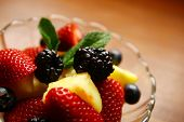 Clear bowl with fresh fruits