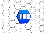 Job On Blue Hexagon
