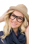 Cheerful trendy blonde with classy glasses posing on white background