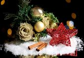 Beautiful Christmas composition on table on bright background