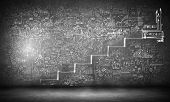 Background image of ladder of success drawn on black wall