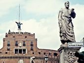 Castel Sant Angelo And Statue Of Bridge Sant Angelo