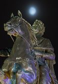 picture of great horse  - Monument to Peter the Great in St. Petersburg at night