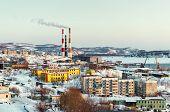 Petropavlovsk-kamchatsky Cityscape, Power Plant Ans Seaport. Kamchatka, Russia