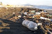 Pollution - plastic water bottle on a beach
