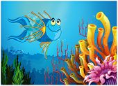 Illustration of a blue fish under the sea near the coral reefs on a white background