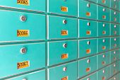picture of mailbox  - Large number of green metal mailboxes on wall