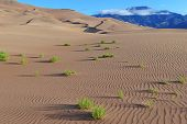 stock photo of saharan  - Sand Dunes and Blue sky - JPG