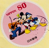 JAPAN - CIRCA 2012: A stamp printed in Japan shows Mickey Mouse, Donald Duck and Goofy, circa 2012