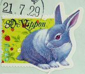JAPAN - CIRCA 2000: A stamp printed in Japan shows a rabbit, circa 2000