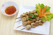 grilled Meat ball and sweet souce with fresh vegetable
