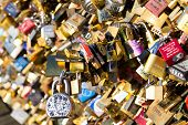 Padlocks On Padlocks On Pont Des Arts Bridge