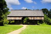 stock photo of cade  - A cantilever barn in Cades Cove Great smoky mountain national park Tennessee - JPG