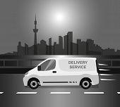 White delivery Van monochrome