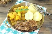 stock photo of rutabaga  - Game stew with turnips vegetables and potatoes - JPG