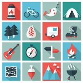 stock photo of travel trailer  - Camping icons - JPG