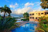 Vacation resort over mountain with beautiful color in the morning in San Juan, Puerto Rico.