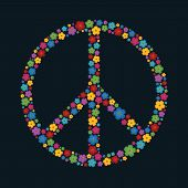Vector illustration Peace sign made up a lot of multicolored