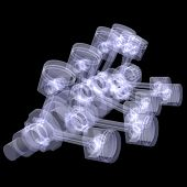 Crankshaft and pistons. X-ray